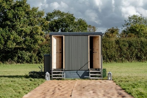 Luxury Glamping Weekend with outdoor luxury shepherd style toilets.