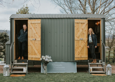 Nomadic Washrooms Owners Kate and Stu Richards in The Little Shepherd.