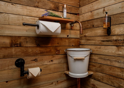 Internal decoration using real timber for a shepherd's style in Nomadic Washrooms.