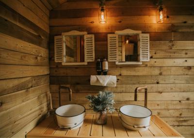 Shepherd Style Handwashing Area with Eco-Friendly Soap in Nomadic Washrooms luxury shepherd toilets hire.