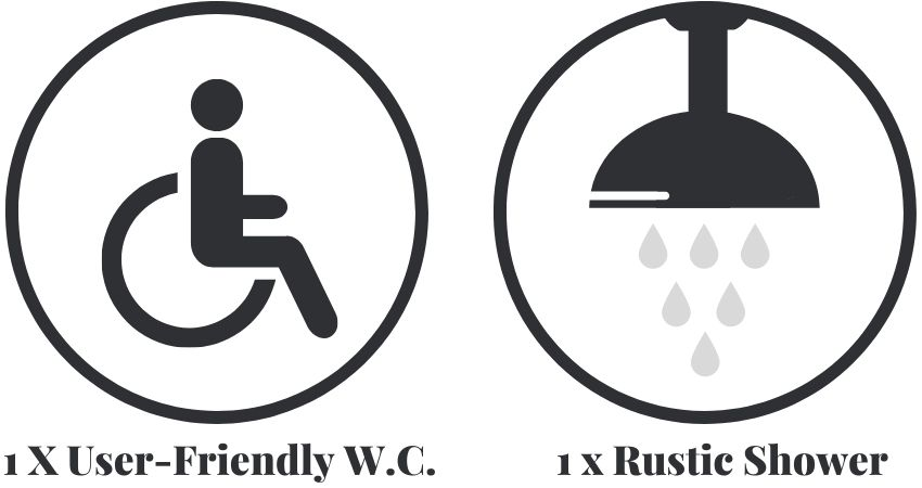The accessible shepherd toilet and shower facilities.